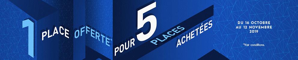 1 place offerte pour 5 places achetées